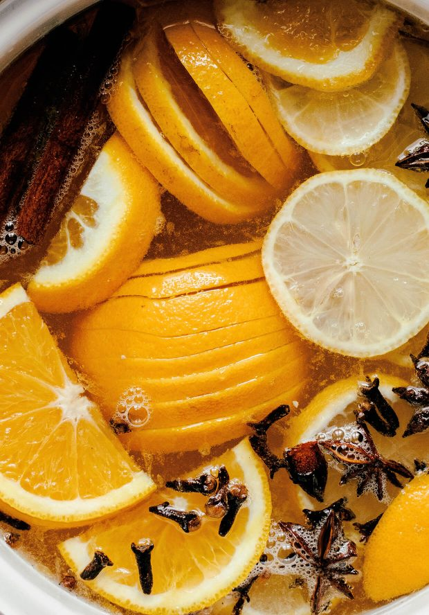 sliced oranges, lemons and spices with wine