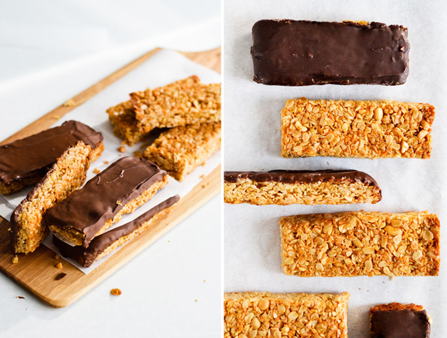 Recipe for chocolate dipped coconut peanut granola bars which make the perfect snack that will keep you full between meals.