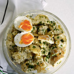 mustard sour cream potato salad with parsley