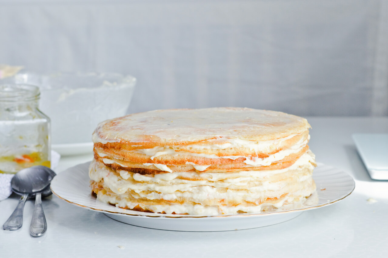 orange ricotta crepe cake