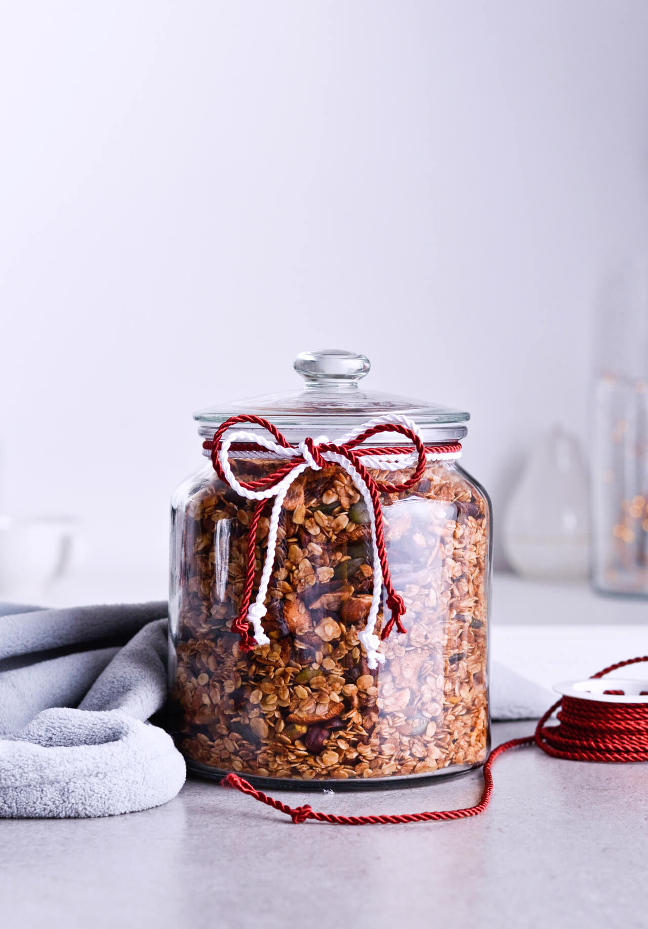 Recipe for Cinnamon apple pistachio soft granola, packed with hazelnuts, sunflower seeds, maple syrup and honey, it is a real treat that makes breakfast wonderful. A jar of granola can also be a great homemade gift. | @mitzyathome sugarsalted.com