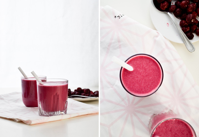 Cherry beet smoothie - a pretty pink smoothie that's quick to make and healthy.