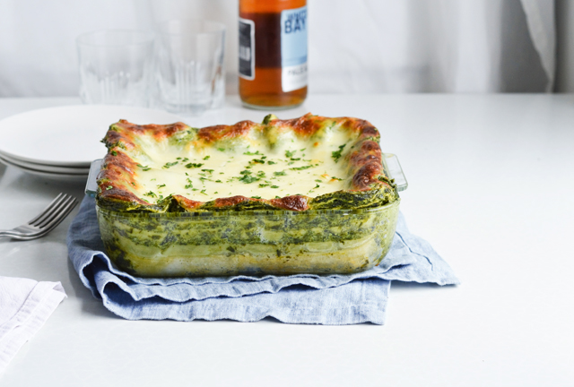 Family's favorite dinner! Eeasy creamed spinach lasagna - made with homemade creamed spinach and bechamel. Can be made ahead and reheated.
