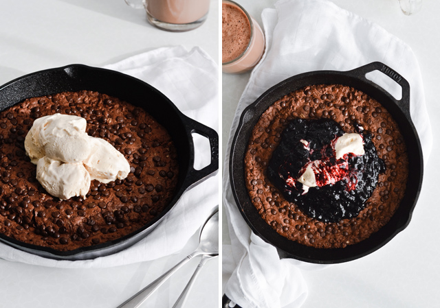 oatmeal fudgy skillet cookie with blueberry sauce and ice cream is the ultimate family dessert! Serve it straight from the oven.