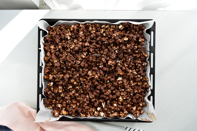 Coconut chocolate popcorn is the best snack ever. Made on the stove in minutes and completely adjustable to your taste.