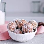 Recipe for Puffed quinoa date energy balls, packed with all the good stuff! Great healthy snack. | sugarsalted.com