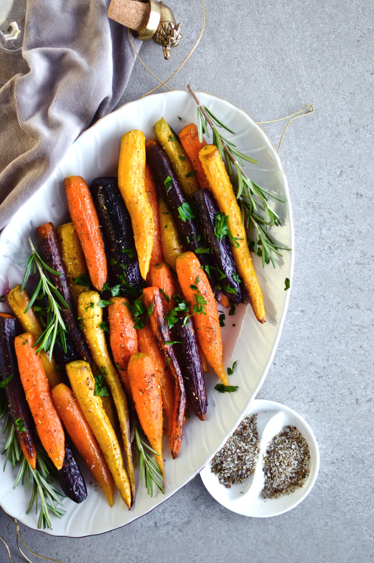 Recipe for simple herb roasted carrots - rainbow carrots baked in pan