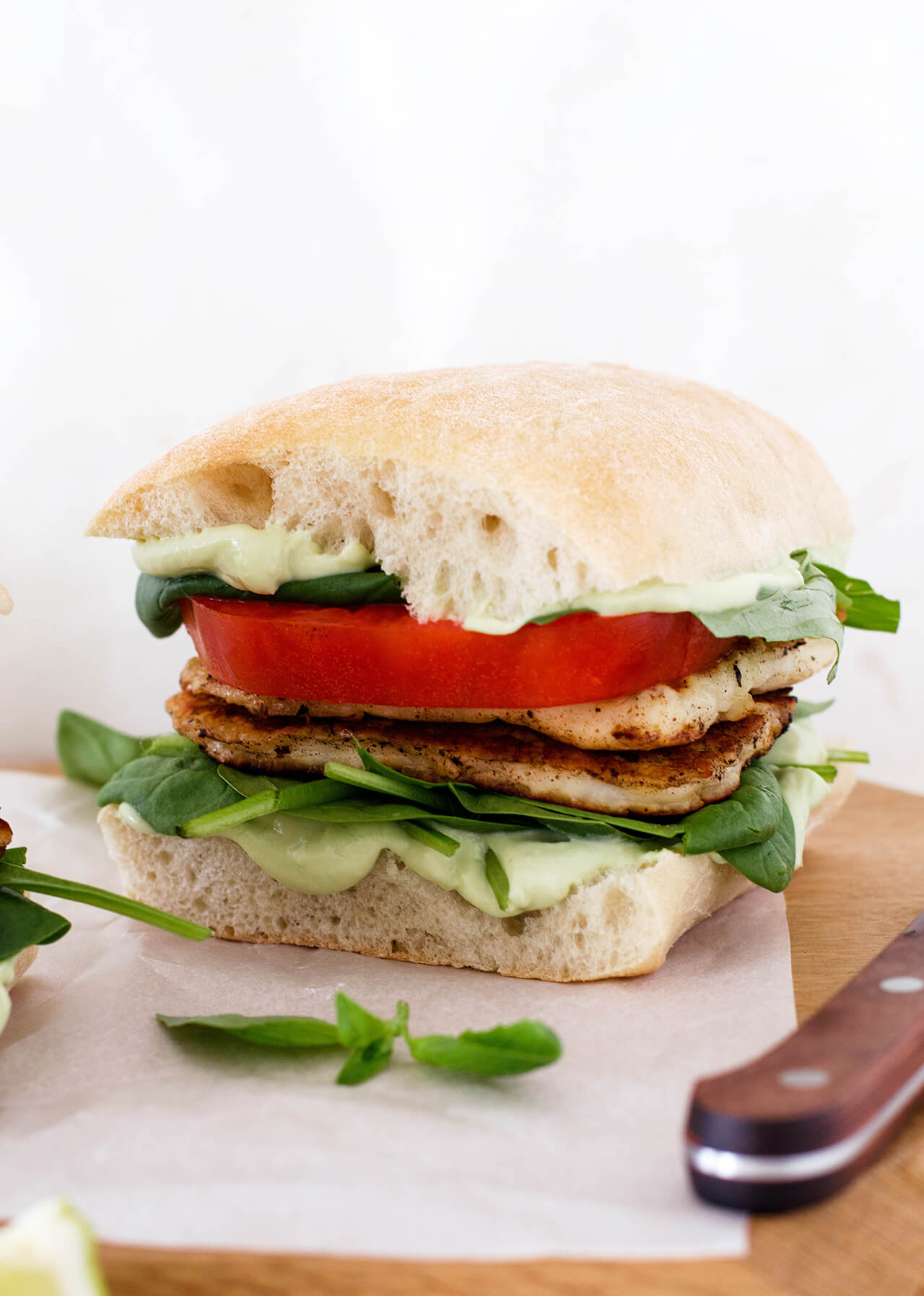 Avocado crema halloumi sandwich makes the perfect vegetarian lunch or dinner, packed with greens and made quickly.