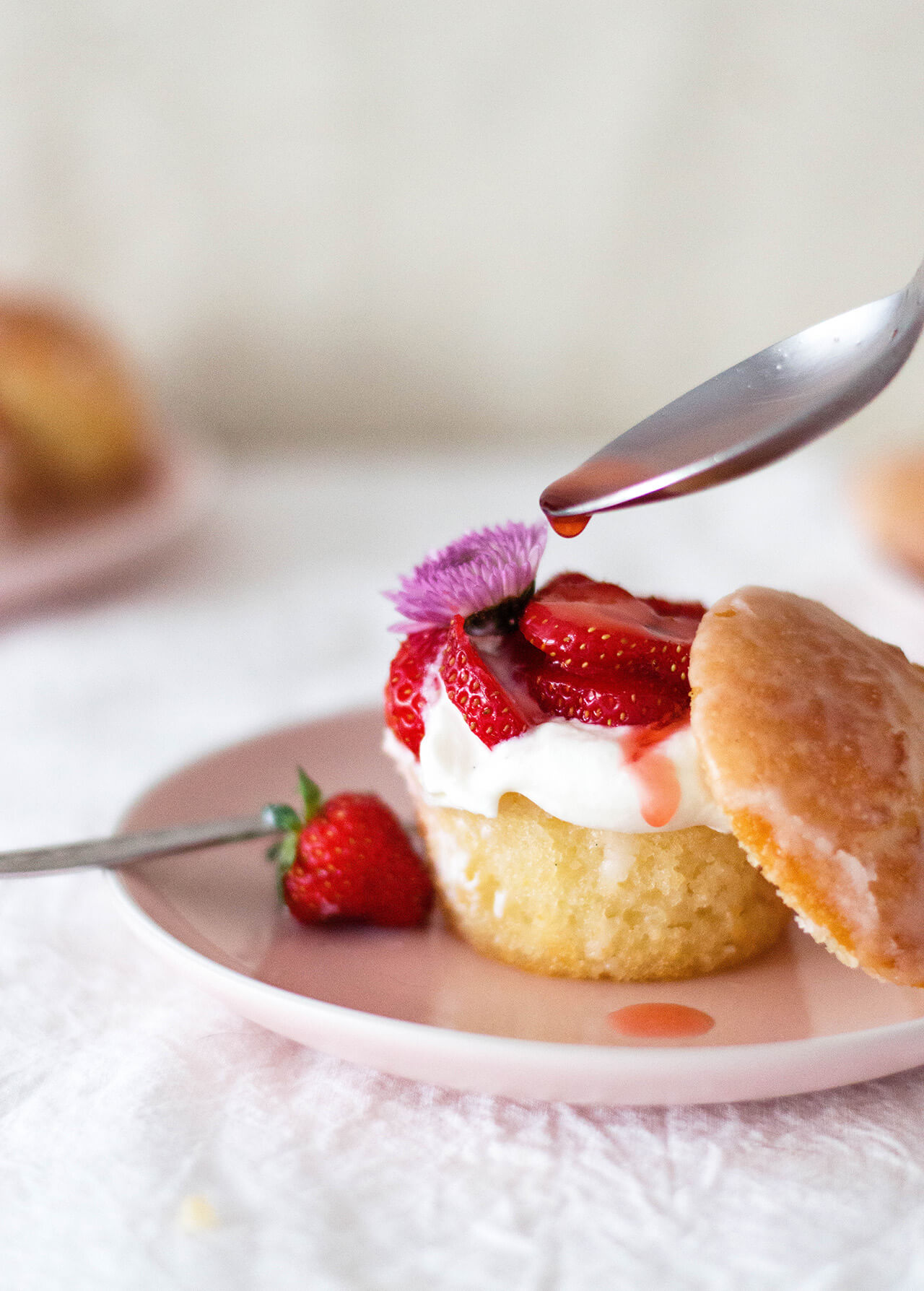 Whipped ricotta lemon muffin cakes with strawberries are a simple but impressive dessert. Easily made ahead, great for a crowd.
