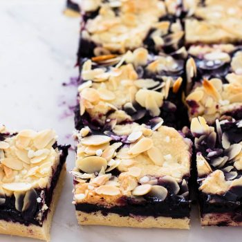 Easy to make blueberry pie cookie bars with a soft buttery crust and jam-like blueberry filling!