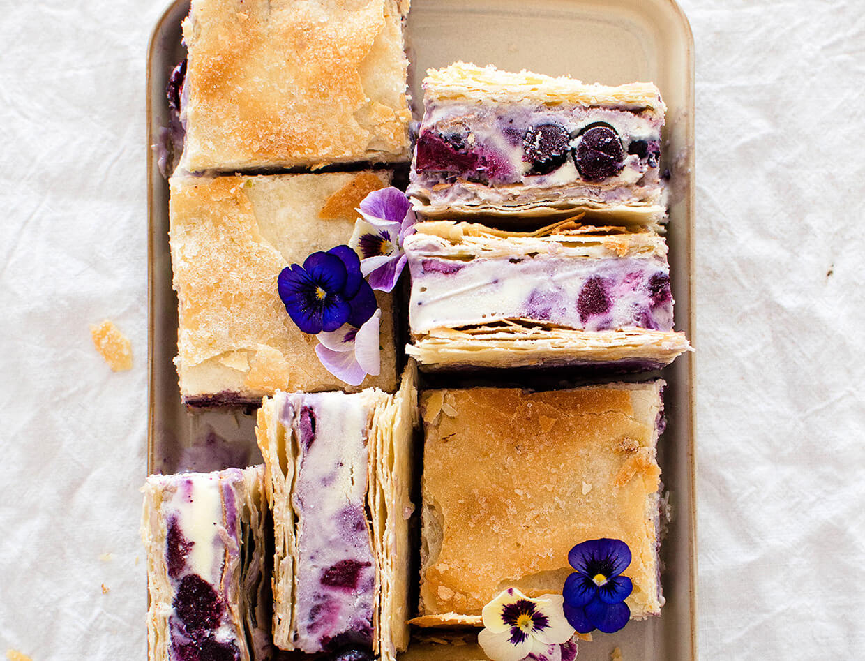 Roasted blueberry phyllo ice cream sandwiches