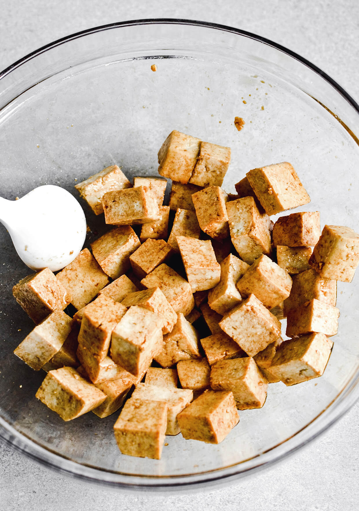chopped tofu for Crispy tofu shaved brussels sprout salad with honey mustard dressing