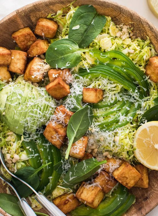 Crispy tofu shaved brussels sprout salad with honey mustard dressing