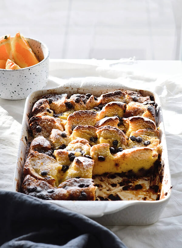 orange chocolate bread pudding