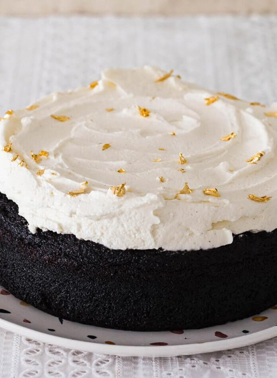 With a fierce chocolate flavor and superb mascarpone frosting, this chocolate stout cake just might be your new favorite cake! Single layer cake with plenty of frosting!