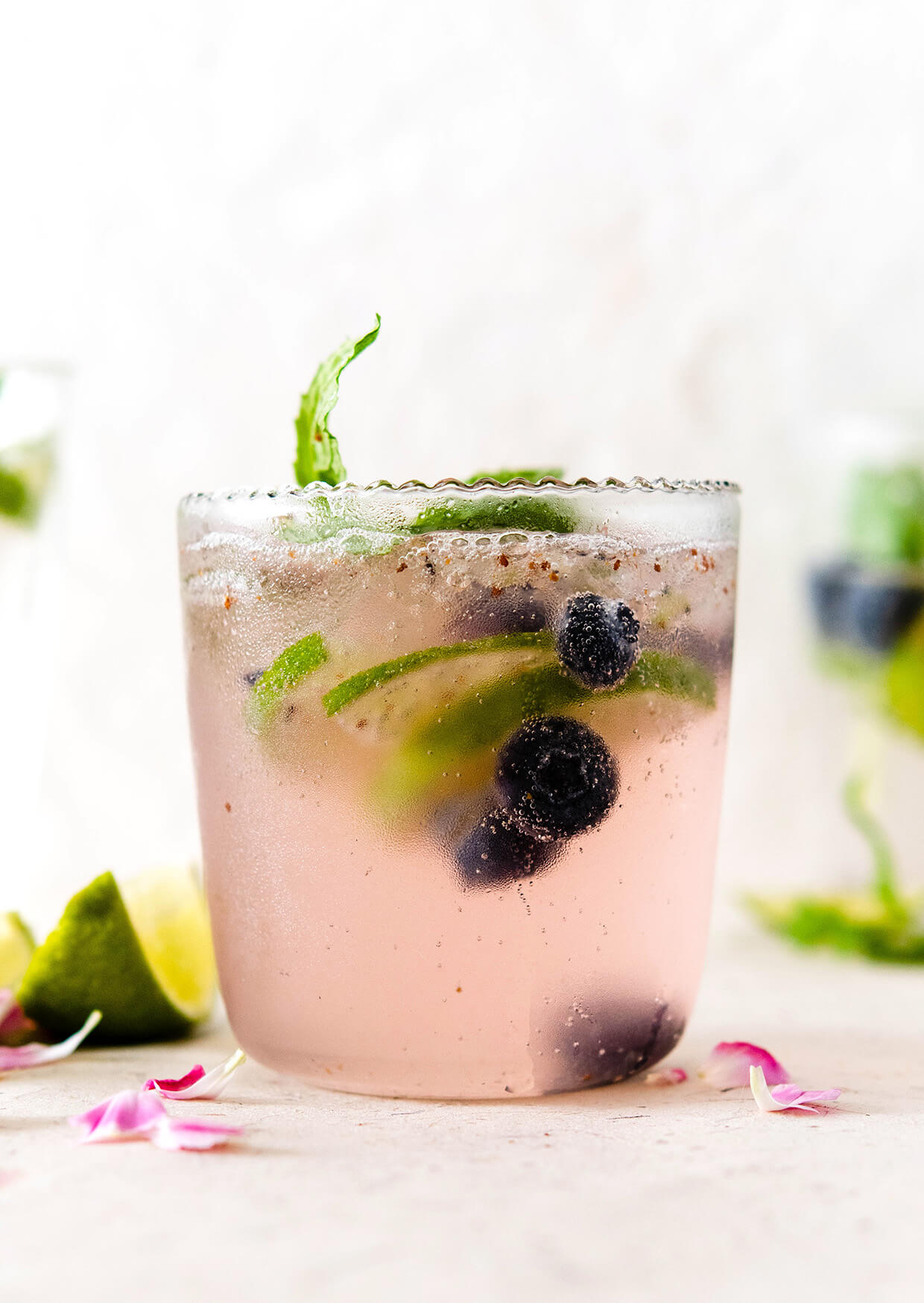 Elderflower blueberry lime virgin cocktail is the perfect non-alcoholic cocktail for brunch and easy dinners, as it is refreshing, mildly sweet and floral, with plenty of bubbles and it goes together with everything.