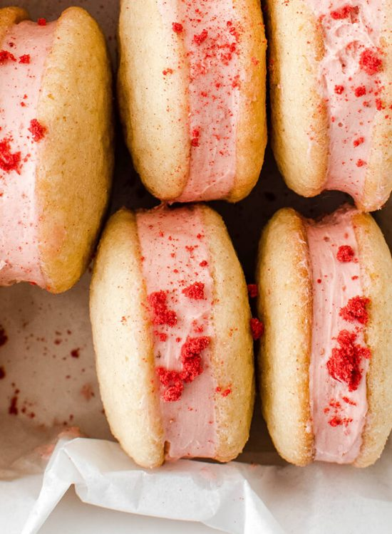 lemon strawberry cheesecake sandwich cookies
