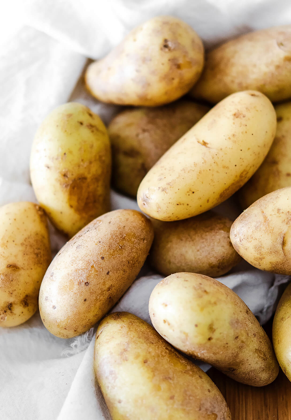 new young potatoes with skins, close up