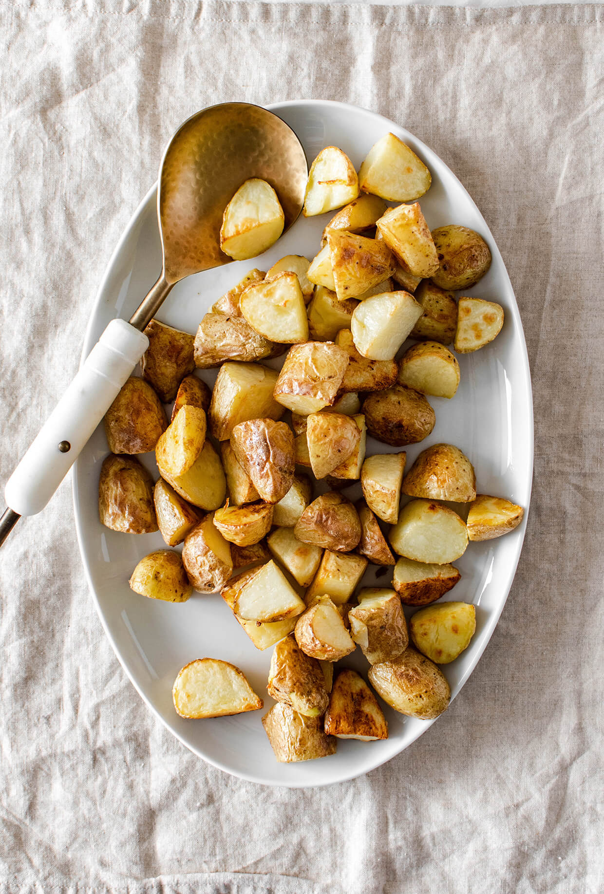 roasted potatoes served on a plate